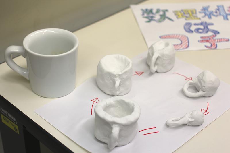 トポロジーの連続変形を、模型を作って表してくれました
